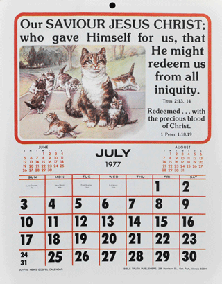 Early Joyful News Calendar 1977