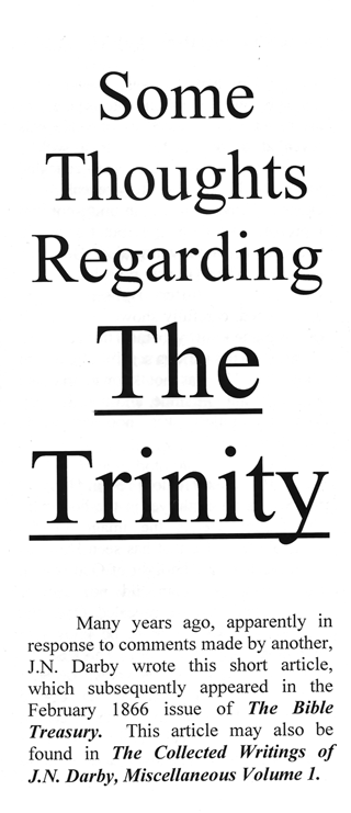 Some Thoughts Regarding the Trinity by John Nelson Darby