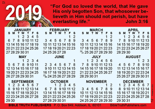 Gospel Pocket Wallet Calendar 2590 Bible Truth Publishers
