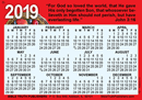 2019 English Gospel Pocket (Wallet) Calendar