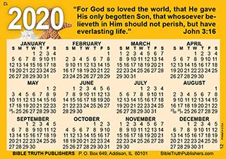 Purse Calendar 2020 Gospel Pocket (Wallet) Calendar, Laminated Full Color Card (#2590