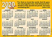 2020 English Gospel Pocket (Wallet) Calendar