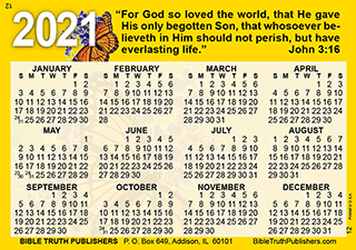 Pocket Size Calendar 2021 Images