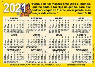 Spanish Calendario de Bolsillo, Tarjeta laminada, a todo color