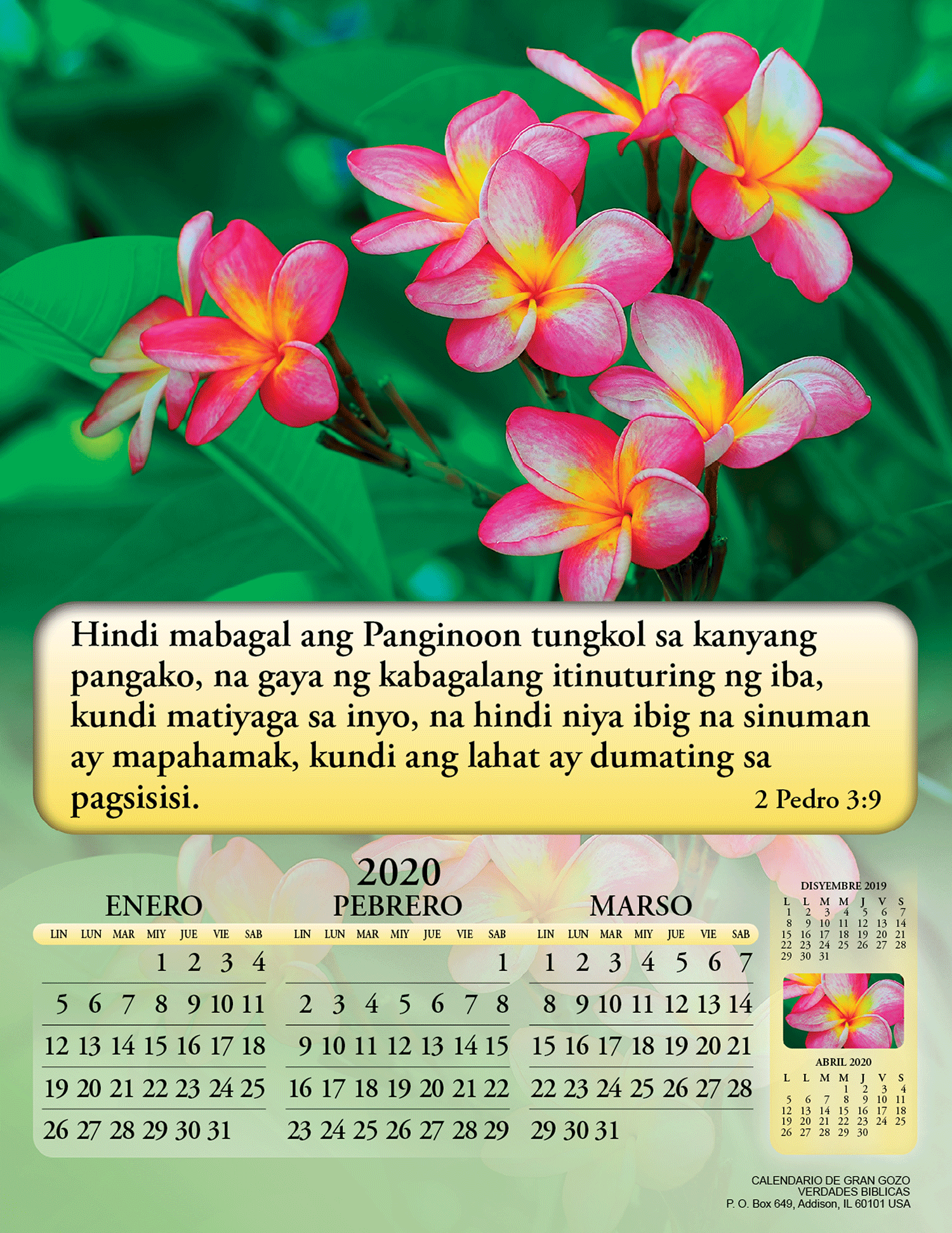 Mini Calendario 2020 Png.Tagalog Joyful News Gospel Calendar 3878 Bible Truth