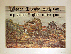 Large Art Print Calligraphy Text: (In the Dale) Peace I leave with you . . . . John 14:27 by J. Maxted