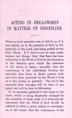 Acting in Fellowship in Matters of Discipline by Henry Forbes Witherby