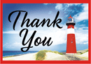 Thank You Tip Card: Red Lighthouse, Horizontal White Stripe