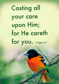 "5"" x 7"" Small Frameable Text Card: (Oriole) Casting all your care upon Him; for He careth for you. 1 Peter 5:7 by IBH"