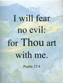 "Small Frameable 8.5"" x 11"" Fear No Evil Scenic Text: (Mountain Wilderness) I will fear no evil: for Thou art with me. Psalm 23:4 by ShareWord Wall Witness, King James Version"