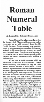Roman Numeral Table: Concise Bible Dictionary Companion