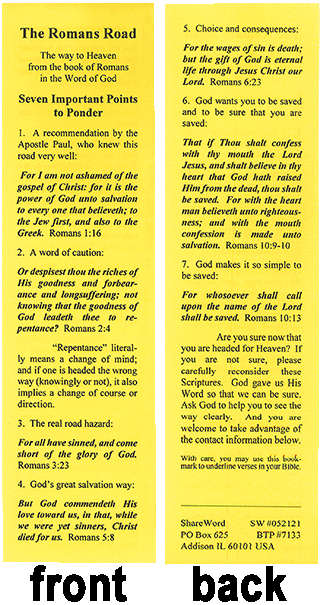graphic regarding Romans Road Kjv Printable named Gospel Tract, The Roman Highway, Tract Playing cards (#7133) - Bible