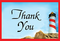 Thank You Tip Card: Barber Pole Lighthouse