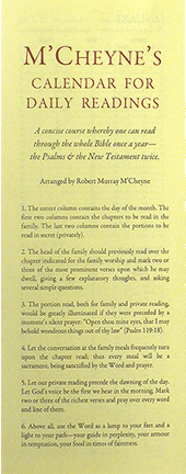 McCheyne's Calendar for Daily Bible Readings by Robert Murray McCheyne