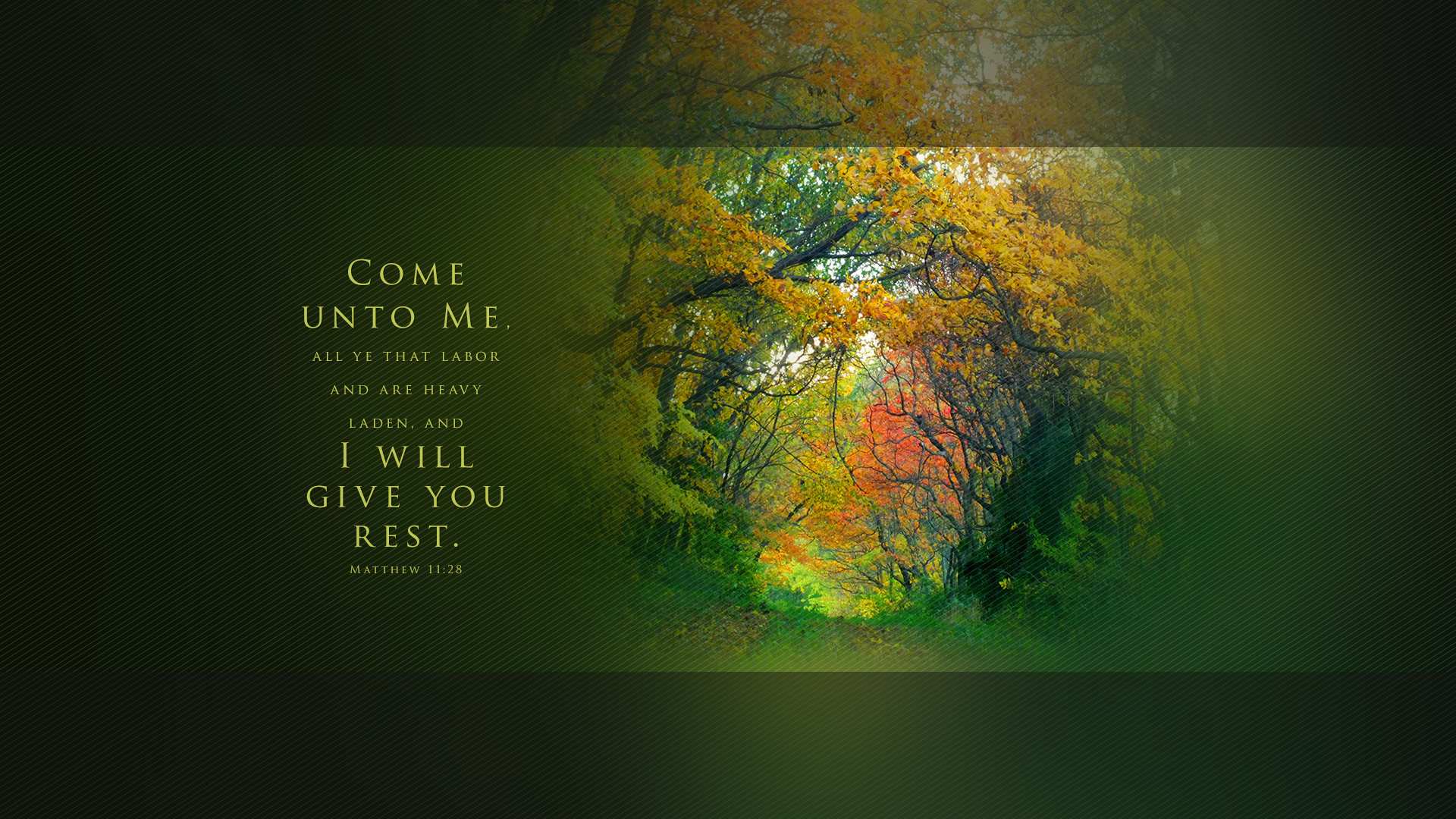 Autumn Road 2–Matthew 11:28–Wallpaper