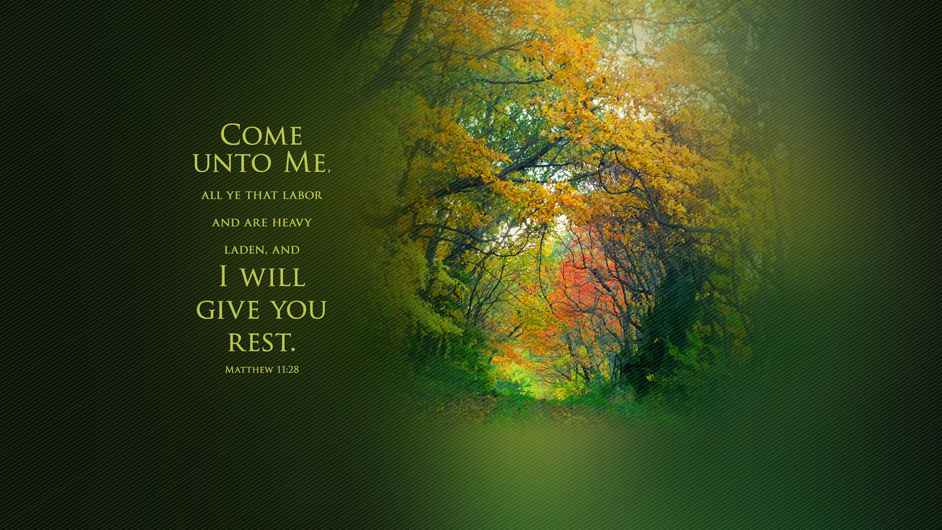 Autumn Road–Matthew 11:28–Wallpaper
