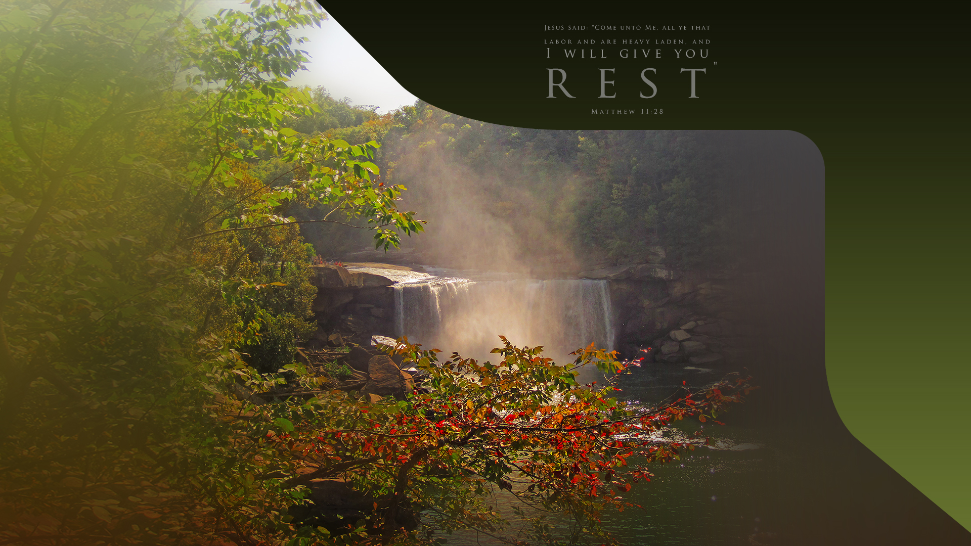 Cumberland Falls–Matthew 11:28–Wallpaper