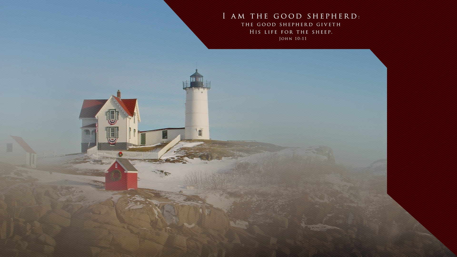 Winter Lighthouse–John 10:11–Wallpaper
